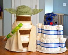 Set of 2 Star Wars Diaper Cakes Yoda R2D2 by Julies2CuteCreations