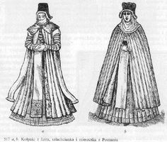 """Translation: """"Fur kolpaks , worn by female nobles from Poznan"""". This is in the North West of Poland, and as such you can see the German influence in their dresses. Lady """"a"""" is wearing what looks to be the female version of the delia [ From Turnau]"""