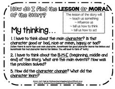 RL.2.2 Moral or Lesson of the story Anchor Chart Thinking Poster
