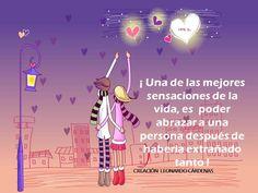 〽️ Una de las mejores sensaciones de la vida, es poder abrazar a una persona después de haberla extrañado tanto