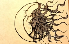 .I love the flowing hair and that it looks like the sun is the female and the moon is male.