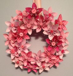 Origami/Kusudama Paper Flower Wreath - I can do this! All I need to do is find some nice buttons
