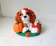 Cavalier King Charles Spaniel Fall Time Dog Sculpture by theWRC