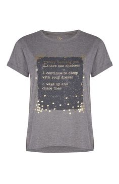 Gray Slogan Foil PJ Top