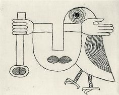 etching by victor brauner, 1958