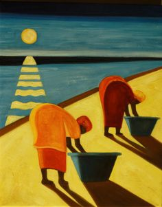 """cuadros modernos """"Mujeres en la playa"""""""