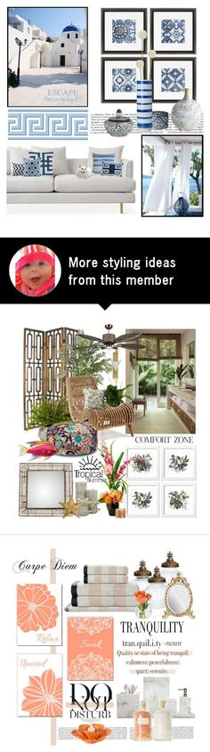 """""""Greek Isles Inspired . . . ."""" by kateo on Polyvore featuring interior, interiors, interior design, home, home decor, interior decorating, GAS Jeans, Home Decorators Collection, Cyan Design and Lene Bjerre"""