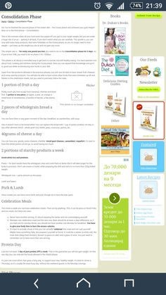 Dukan diet Consolidation phase foods and rules