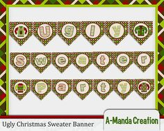 Ugly Christmas Sweater Printable Party Banner