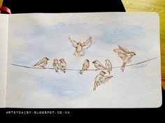 Birds on a wire, watercolour, moleskine, by Artbydaisy via Flickr