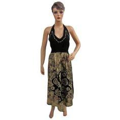 Womens Boho Designer Halter Neck Dress Black Yellow Printed Cotton Sundress (Apparel)  http://www.amazon.com/dp/B0084YB2C4/?tag=oretoretanku-20  B0084YB2C4