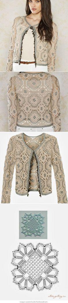Crochet motif jacket.      http://crochetemoda.blogspot.com/2013/10/casaqueto-de-crochet_24.html me gusta la combinación de colores