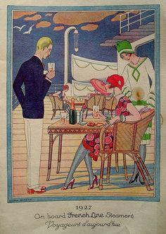 1929 - George Barbier - menu cover for a french shipping line Vintage Ads, Vintage Menu, Funny Vintage, Vintage Travel, Vintage Posters, Vintage Style, Art Deco Era, Old Paper, Art Deco Design