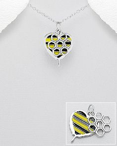 sterling silver beehive and heart pendant