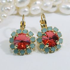 Mint Green Coral Earrings Gold Peach Swarovski Crystal by TIMATIBO