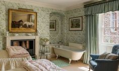 English country house bedroom with ensuite bath