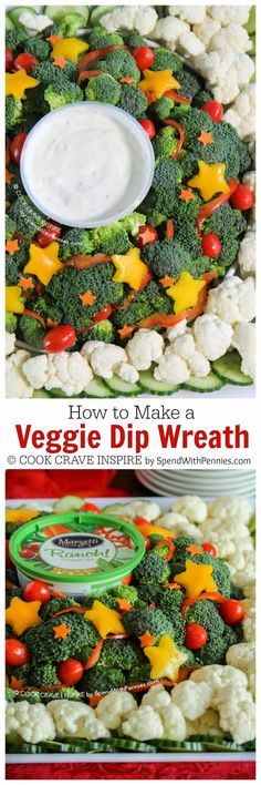 This easy veggie dip is quick to make and perfect for any holiday party! The perfect way to dress up your Christmas table and make a healthy appetizer!