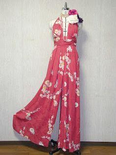 kimono repurposed into halterneck culotte dress
