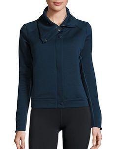 """<ul> <li>Lightweight topper in a textured design</li>  <li>Mock neckline</li>  <li>Hidden zip front</li>  <li>Long sleeves</li>  <li>Side pockets</li>  <li>About 22"""" from shoulder to hem</li>  <li>Polyester/elastane/nylon</li>  <li>Machine wash</li>  <li>Imported</li> </ul>"""