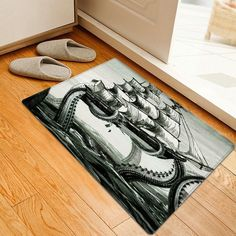 Giant Squid Attacking Ship Pattern Indoor Outdoor Area Rug - GRAY W20 INCH * L31.5 INCH