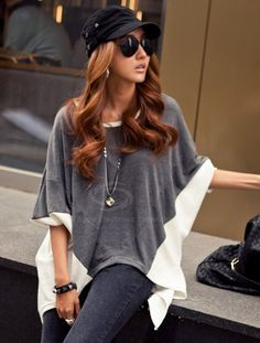 Batwing Sleeves Mixed Colors Dovetail T-shirt For Women