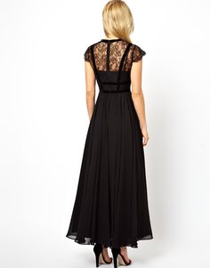 Image 2 of ASOS PETITE Exclusive Maxi Dress With Lace Top And Velvet Contrast