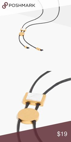 """MADEWELL Stone Verse Bolo Necklace A minimalist take on a traditional bolo necklace with a touch of howlite. Each semiprecious stone is hand-selected by our designers, so no two pieces are exactly alike.    Length: 25 1/2"""". Brass, howlite, wax cord. Madewell Jewelry Necklaces"""