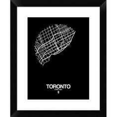 "Naxart 'Toronto Street Map' Framed Graphic Art Print in Black Size: 22"" H x 18"" W x 1.5"" D"