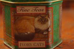 Vintage 90s Tea Tin Box With Cats Made in by SycamoreVintage