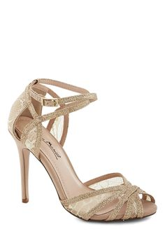 lace and sparkly- perfect for brides and bridesmaids- Glitz and Gleam Heel, #ModCloth