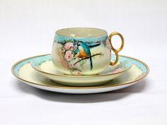 Vintage Hand gemalten China Tee Tasse Untertasse Teller Robin Vogel eingestellt, die rose Blumen design