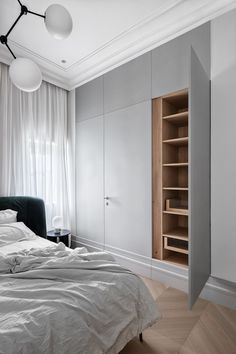"APARTMENT ""O"" | AUTORI Bedroom Built In Wardrobe, Bedroom Closet Storage, Bedroom Closet Design, Bedroom Furniture Design, Bedroom Wardrobe, Room Ideas Bedroom, Home Bedroom, Modern Bedroom, Wardrobe Interior Design"