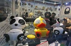 In this April 12, 2014 photo, Chinese made smart phone speakers are displayed in a booth at the Global Sources Spring China Sourcing Fair in Hong Kong. (AP Photo/Kin Cheung) ▼17Apr2014AP|China factories face new challenge as growth slows http://bigstory.ap.org/article/china-factories-face-new-challenge-growth-slows