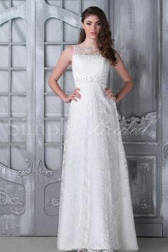 Doris Gown, a A-line and sheath silhouette wedding gown with a beaded waistband. A beautiful dress for both indoor and outdoor weddings.  #WeddingGown #SheathSilhouette #SimplyBridal