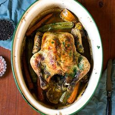 A delicious roast chicken infused with lemon, cinnamon and rosemary– cooked to perfection with carrots and leeks.