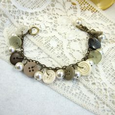 Bracelet, Vintage Buttons and Pearls, Soft Cream and Taupe £7.95