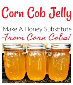 If you love honey, you'll adore this super simple corn cob jelly recipe! It's the perfect no-waste canning recipe! Use it for ice cream, toast, pancakes or anywhere else you would use honey! It's delicious! Jelly Recipes, Corn Recipes, Jam Recipes, Canning Recipes, Picnic Recipes, Picnic Ideas, Picnic Foods, Recipies, Dessert Recipes