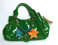 Sofia C Handbag Green Leather Handle Fish Beach Italy  Yellow Purse Chain NEW  #SofiaC #TotesShoppers