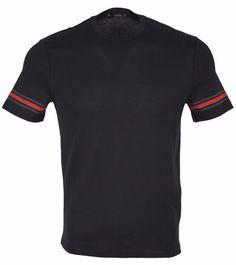 New Gucci Men's 353896 Black Cotton Red Green Web Stripe Trim T Shirt XL #Gucci #GraphicTee