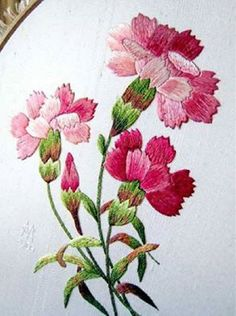 Hand Embroidery Pattern: Carnations I ❤ embroidery . Embroidered carnations in silk ~By Margaret Cobleigh - with a link to the patternI ❤ embroidery . Embroidered carnations in silk ~By Margaret Cobleigh - with a link to the pattern Learn Embroidery, Silk Ribbon Embroidery, Crewel Embroidery, Vintage Embroidery, Floral Embroidery, Embroidered Flowers, Embroidery Thread, Embroidery Boutique, Embroidered Silk