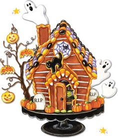 Haunted House made with graham crackers, vanilla frosting and lots of candies! Artwork by Gooseberry Patch.