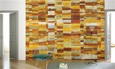 """Elitis Opening Gili is a multicolor geometric panoramic mural wall covering that speaks to a cultural vibe.  Sold by 3 panels of 39.3"""" width X 118"""" height roll"""