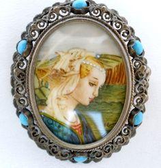 Miniature Portrait Pin Pendant Turquoise 800 Silver Lady Victorian Brooch  #MiniaturePortrait