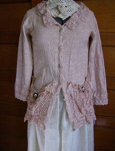 Jacket  womens  Lt Rose tea dyed cotton jacket by VioletRose1930