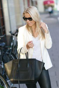 Leather leggings, white tee and blazer