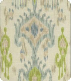 Khanjali Blue Green Natural Ikat Fabric-Lewis and Sharon; drapes behind the kitchen table?