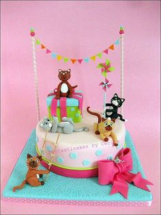 Happy Party Kittens Cake happy birthday kids I want too see her with a sister Más Crazy Cakes, Fancy Cakes, Cute Cakes, Kitten Cake, Kitten Party, Birthday Kitten, Cat Party, Cotton Candy Cupcakes, Happy Birthday Kids