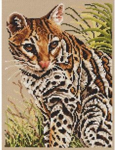 Janlynn Ocelot - Cross Stitch Kit. For any wildlife lover, this Ocelot counted cross stitch kit from Jayne Netley Mayhew, is the cat's meow.  The design measure