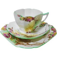 Shelley art deco autumn teacup trio, Queen Anne