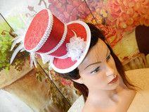 Mini Zylinder weiß schwarz Damenhut Gothic Minihat